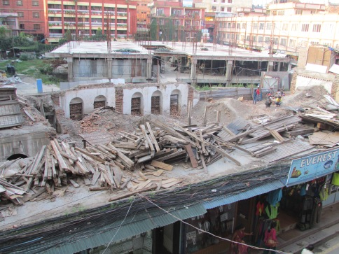 View from our Kathmandu hotel window. A school no more.