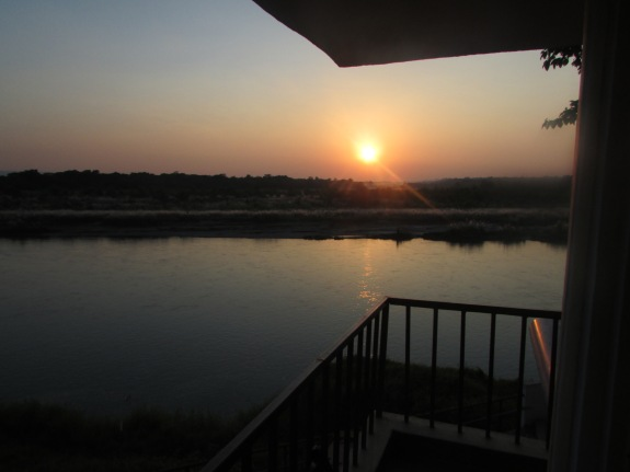 View from our balcony at Chitwan at sunset