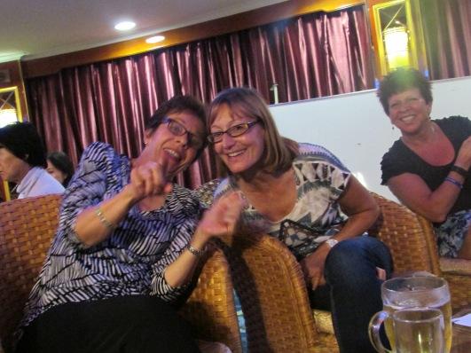 Sarah enjoying her Yangtze cruise with Linda and Jan (right)
