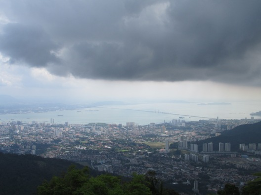 Grey outlook, grey mood - the view over George Town from Penang Hill
