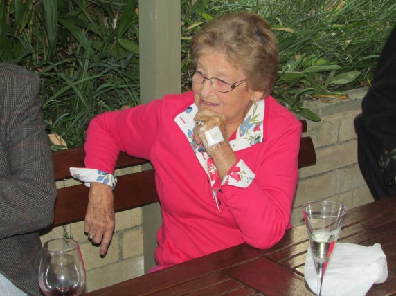 Gwen - in the pink - a few days after her accident enjoying an impromtu Aussie BBQ... if Sarah looks half as good at 84...
