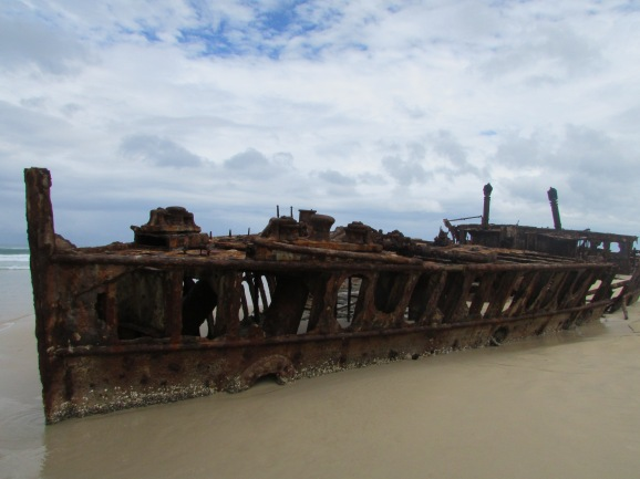 By 1935 the ship had been taken out of service and was sold to a ship-breaker in Japan. On 25 June 1935, while being towed to Osaka to be broken up, she was caught in a strong cyclone about 80 kilometres (50 miles) off the coast of Queensland. The towline parted, and on 9 July 1935 the Maheno became beached on the east coast of Fraser Island