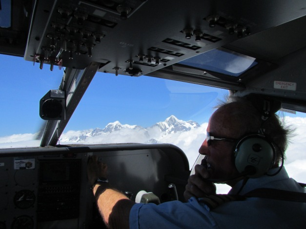 Co-Pilot Richard a very experienced Captain plots a route through the cloud for pilot Leon