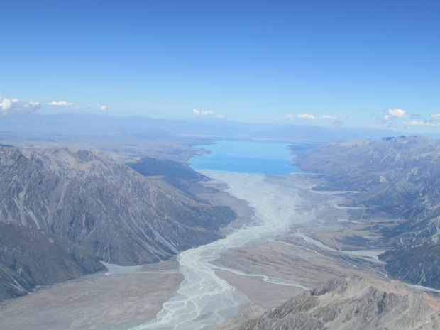 "The view ""down"" the Lake Pukaki Valley"