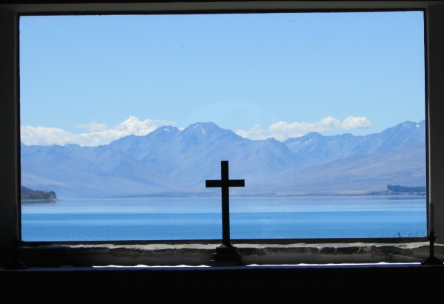 God's country, this the view from the alter of the Anglican Church in Lake Tekapo