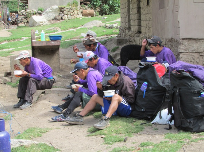 Our Porters having lunch